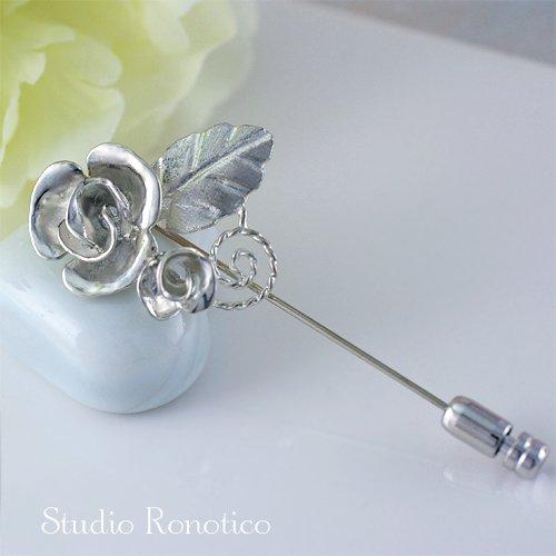 バラモチーフの銀細工 Silver925 ハットピン ピンブローチ ラペルピン