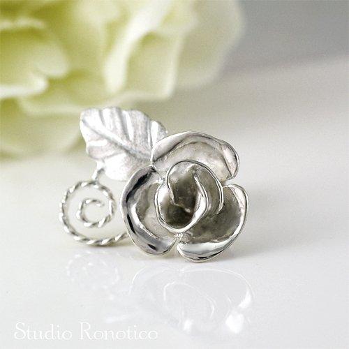 バラモチーフの銀細工 Silver925 タックピン ピンブローチ ラペルピン