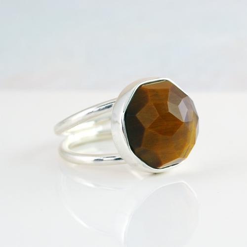 天然石 タイガーアイ ローズカット シルバー リング silver 925 #12.5