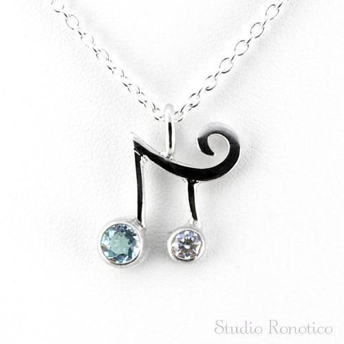 silver925 2連音符のネックレス ブルートパーズ×ジルコニア
