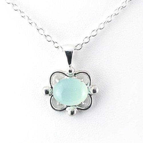 Silver925製 ブルーカルセドニー透かしお花モチーフのネックレス