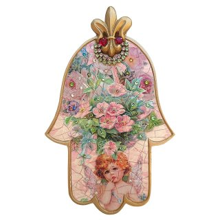 <img class='new_mark_img1' src='https://img.shop-pro.jp/img/new/icons5.gif' style='border:none;display:inline;margin:0px;padding:0px;width:auto;' />Michal Negrin - 壁掛け/ハムサ・中(エンジェル・フラワー・ピンク) 【予約注文】
