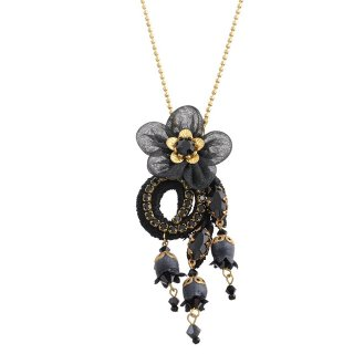 Michal Negrin - ネックレス / ORGANDY FLOWER NECKLACE(ブラック)