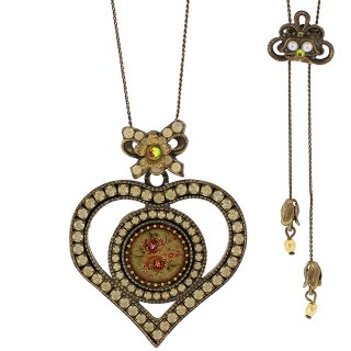 Michal Negrin - ロングネックレス/HEART CAMEO NECKLACE(ローズ:乳白)