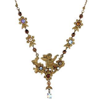 Michal Negrin - ネックレス/ANGEL RELIEF FLORAL CHAIN NECKLACE(ブラウンマルチ)
