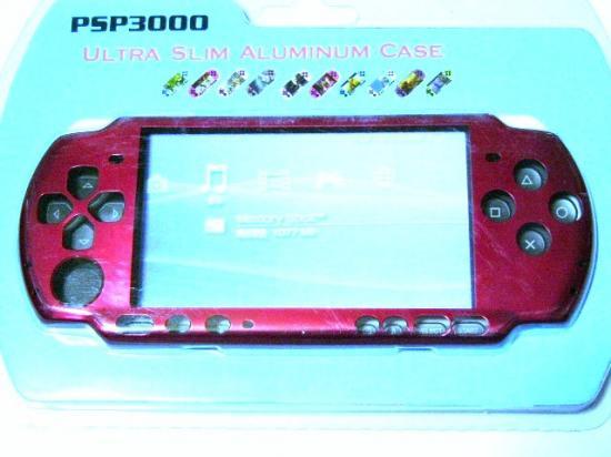 PSP-3000専用★本体保護アルミニウムケースカバー新品メタル赤