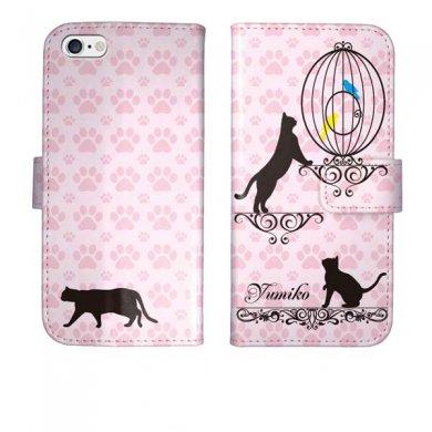 iPhone6s iPhone6 手帳型 猫と鳥かご 猫柄 名入れ ケース カバー