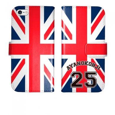 iPhone6s iPhone6 手帳型 ユニオンジャック 背番号 名入れ ケース カバー