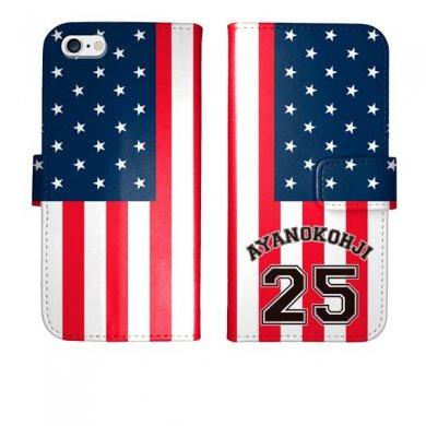 iPhone6s iPhone6 手帳型 星条旗 背番号 名入れ ケース カバー