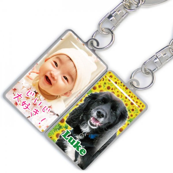 写真 キーホルダー メタルプレート 長方形 両面印刷 名入れ ペット 子供 犬 猫 オリジナル オーダーメイド