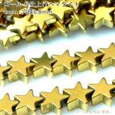 ヘマタイト(磁気無し)ゴールド スターモチーフ 4mm 穴径0.8mm 10粒/50粒【134834155】