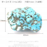 ターコイズ ブルー 天然トルコ石 自然形のビーズ 1mm穴径貫通 1点物14×22mm/No.3( 158963614)
