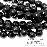 オニキス(黒瑪瑙)10mm 128面ラウンド多面カット 2粒/20粒入(26149171)