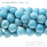 天然石ビーズ ターコイズ(トルコ石)丸玉 ブルー ハウライト加色 10mm 2粒〜【51922802】