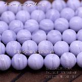 天然石ビーズ ブルーレスカルセドニー(空色縞瑪瑙)丸玉 AAA ラウンドビーズ 10mm 2粒〜【64735192】