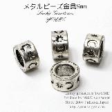 大穴メタルビーズ・ロンデルパーツ/ 星・月モチーフ9mm/銀古美(71589233)