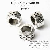 大穴メタルビーズ・ロンデルパーツ/幾何学モチーフ9mm/銀古美 2個〜(76255682)
