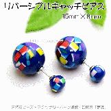 リバーシブルキャッチ&ピアス2個入セット販売/ラウンド15×8mm幾何和柄・ブルー( 92952200)