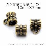 カン付き大穴ロンデルパーツ/アンティークゴールド10×7穴径5mm 3個入100円(93255149)