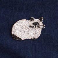 イラストレーター松尾ミユキ 刺繍ワッペン ファリーキャット ふさふさネコ
