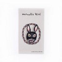 ナタリー・レテ 刺繍ワッペン REGLISSE(ウサギの顔・黒)