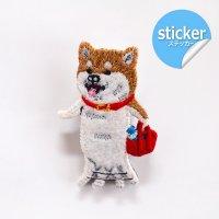 pokefasu ポケファス イヌの散歩 刺繍フェルトステッカー