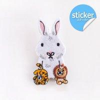 pokefasu ポケファス ウサチャン 刺繍フェルトステッカー ウサギ