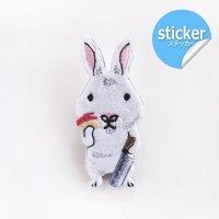 pokefasu ポケファス ウサリン 刺繍フェルトステッカー ウサギ
