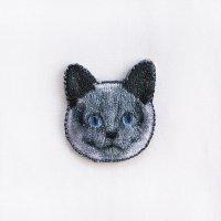 イラストレーター小池ふみ 刺繍ワッペン CAT-black クロネコ