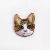 イラストレーター小池ふみ 刺繍ワッペン CAT-tora トラネコ