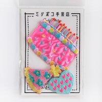 カーリーコレクション ワッペン バースディケーキ ピンク