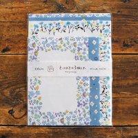 とっておきの3柄レターセット 青い花