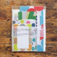 5種の定型サイズ封筒が ガサガサ入ったレターセット 幾何学柄