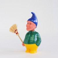 【当店限定】 ドイツ製 首振り人形 ドワーフ 緑シャツ お掃除おじさん