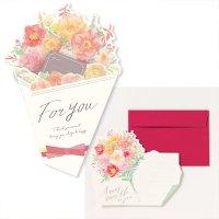 AIUEO 花を贈るメッセージカード レッド