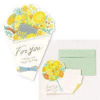 AIUEO 花を贈るメッセージカード イエロー