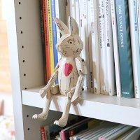 ウサギパペット ハート 手作り木製人形