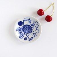 松尾ミユキ 豆皿 Bird plants ブルー