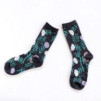 ALCEDO flower socks フラワーソックス チャコール 22.5〜24.5cm