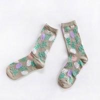 ALCEDO flower socks フラワーソックス ベージュ 22.5〜24.5cm