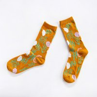ALCEDO flower socks フラワーソックス マスタード 22.5〜24.5cm