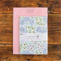 マカベアリス よりどり箋 青い花 使いきりレターセット 植物刺繍柄