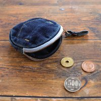 デニム サークルコインケース ユーズド濃色 岡山 デニム 小銭入れ 財布