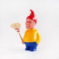 【当店限定】 ドイツ製 首振り人形 ドワーフ 黄シャツ お掃除おじさん
