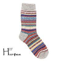 ポルトガル製ウールソックス 【H-Foot wear】 フェアアイル柄 グレー レディースフリー