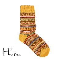 ポルトガル製ウールソックス 【H-Foot wear】 フェアアイル柄 マスタード レディースフリー