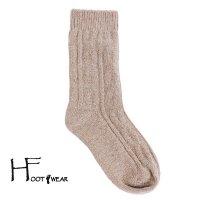 ポルトガル製ウールソックス 【H-Foot wear】 ケーブル柄 キャメル レディースフリー