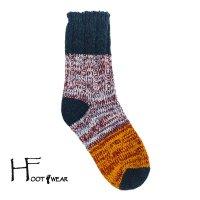 ポルトガル製ウールソックス 【H-Foot wear】 PANNEAU GR×LBL×OR 男女兼用(23-27cm)
