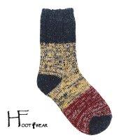 ポルトガル製ウールソックス 【H-Foot wear】 PANNEAU GY×YE×RE 男女兼用(23-27cm)