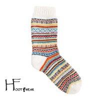 ポルトガル製ウールソックス 【H-Foot wear】 フェアアイル柄 オフホワイト レディースフリー